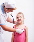 Vaccination of a little girl — Stock Photo