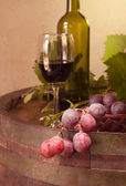 Still life with wine barrel, grapes and vine — Stock Photo
