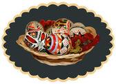 ブドウの pt 皿いっぱい楕円形のカルトゥーシュのイースターエッグ — ストックベクタ