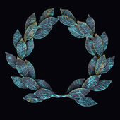 Isolate metal wreath of forged leaves with patina and rust on a — Stock Photo