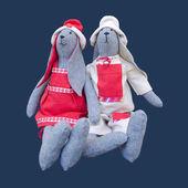 Isolated handmade dolls bunny family in homespun clothing sittin — Stock Photo