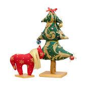 Handgemaakte zacht stuk speelgoed geïsoleerde nieuwe jaar boom en rode paard — Stockfoto
