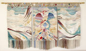 Handmade embroidered wall panels with bird and mountain landscap — 图库照片