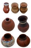 Conjunto isolado de potes de cerâmica artesanal em estilo folk ucraniano — Foto Stock