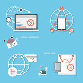 Set of flat design concept icons, Icons for internet marketing a — Stock Vector