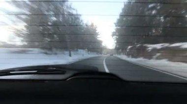 Voyage en voiture à la route d'hiver — Vidéo