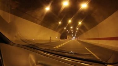Driving through tunnel — Stok video