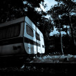 Vintage camper van at the night — Stock Photo