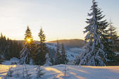 Solnedgången på vintern — Stockfoto