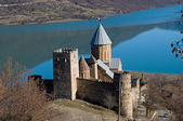 Castle on blue lake — Stock Photo