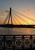 Bridge in sunset, Riga — Stock Photo