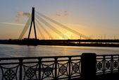 Modern bridge at sunset — Stock Photo