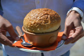 Soup in the bread — Stock Photo