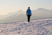 Winter walk in mountains — Stock Photo