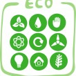 Collection of nine green eco-icons — Vector de stock #18376527