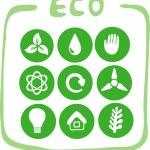 dokuz yeşil eco-simgeler koleksiyonu — Stok Vektör