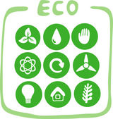 Collection of nine green eco-icons — Stock Vector