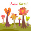 Stock Vector: Colorful love forest background