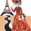 Fashion woman in Paris - Stock Vector