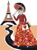 Fashion woman in Paris — Stock Vector