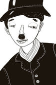 Hand-drawn illustration of Charlie Chaplin — Stock Photo