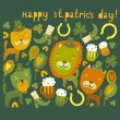 Cute St.Patrick's day background with cats — Stock Vector