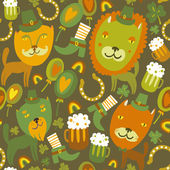 Seamless St.Patrick's day pattern with cats — Stok Vektör