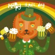 Royalty-Free Stock Vector Image: Cute St.Patrick\'s day background with cat