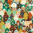 Colorful seamless pattern with cartoon houses — 图库矢量图片