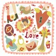 Colorful cartoon romantic love background - Векторная иллюстрация