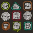 Set of 9 grunge speech bubbles and frames - Stock Vector