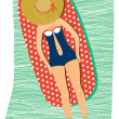 Girl sunbathing at the beach — Stock Vector