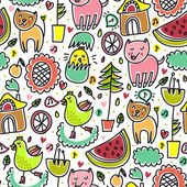 Cute colorful seamless childish pattern — Stock Vector