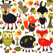 Seamless pattern with woodland animals and birds - Stock Vector