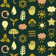 Seamless pattern with eco icons - Stock Vector