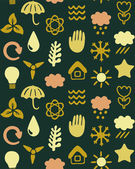 Seamless pattern with eco icons — Stock Vector