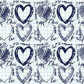 Modèle dessiné à la main sans couture coeur — Vecteur