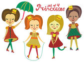 Set of 4 cute colorful Princesses — Stock Vector