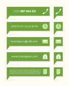 Green labels with text and symbols — Stock vektor