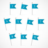 Blue flags with numbers — Stock Vector