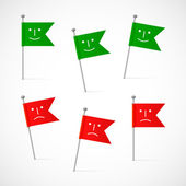 Flags with a smile and frown — Stock Vector