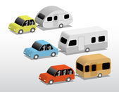 Cars with caravans — Stock Vector