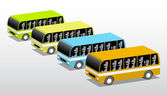 Four colored buses — Stock Vector