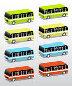 Buses in four colors — Stock Vector