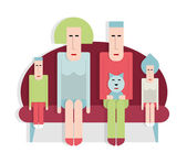 Family on sofa — Stock Vector