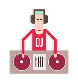 DJ with turntables — Stock Vector