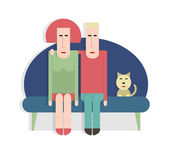 Man and woman on the couch — Stock Vector