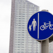 Stock Photo: UK road sign Segregated route for pedal cycles and pedestrians