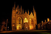 Peterborough Cathedral at night — Stock Photo
