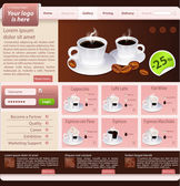 Web site design template, coffee house theme — Stock Vector